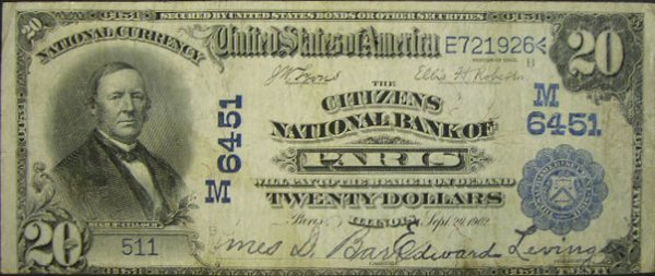 510: Series 1902 Twenty Dollar ($20.00) Date Back The C