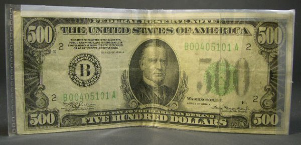 519: Series 1934A Five Hundred Dollar ($500.00) United