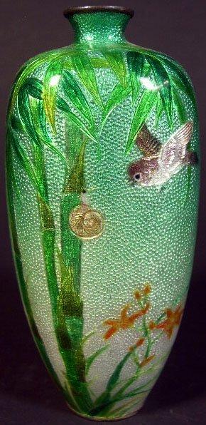 704: Late 19th Century Japanese Miniature Cloisonne Vas