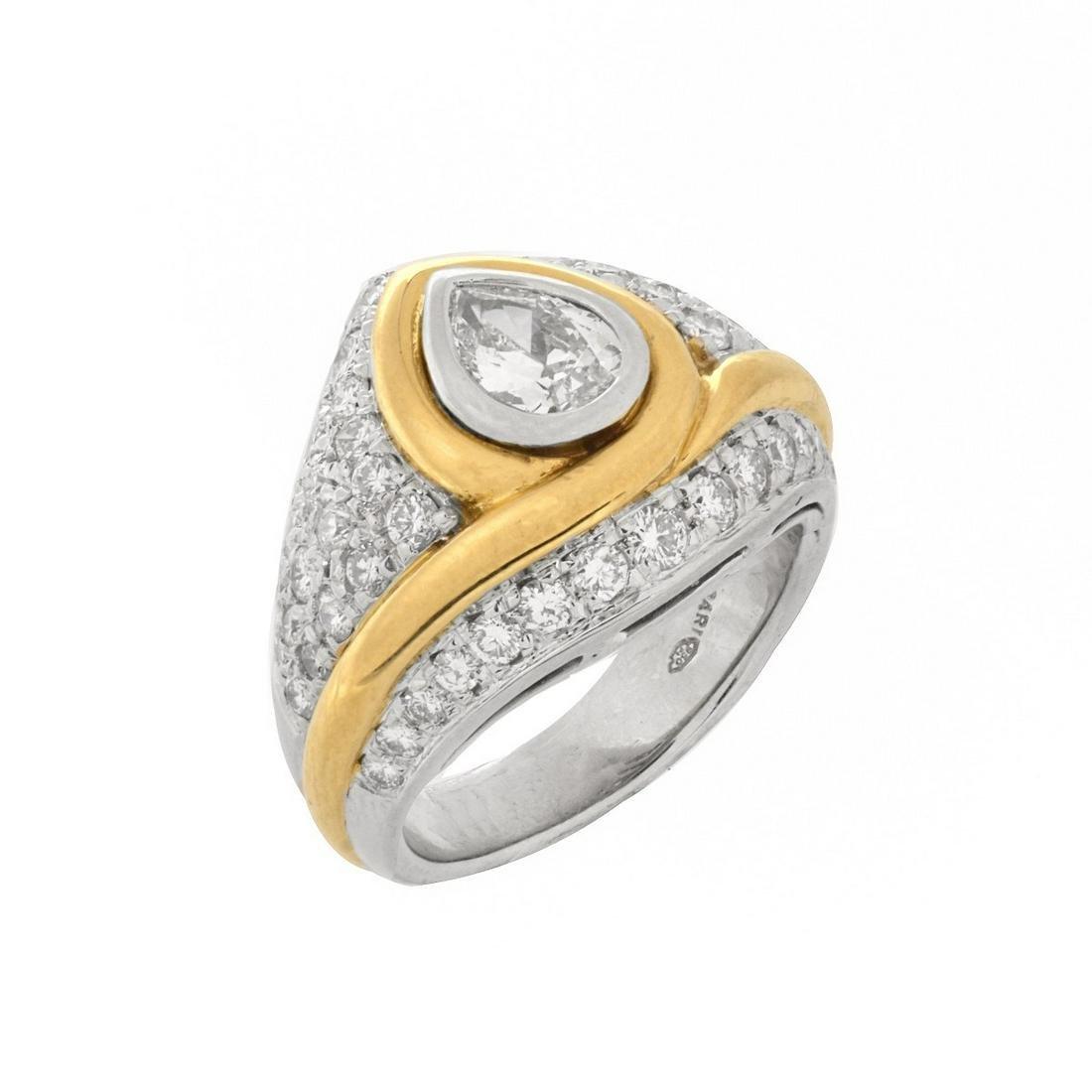 Bulgari Diamond Platinum and 18K Ring
