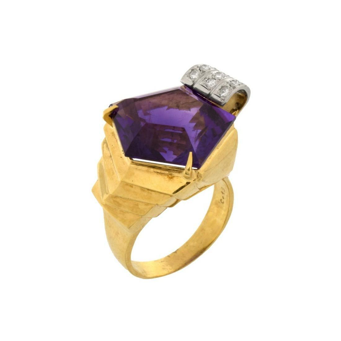 Amethyst, Diamond, 18K and Platinum Ring