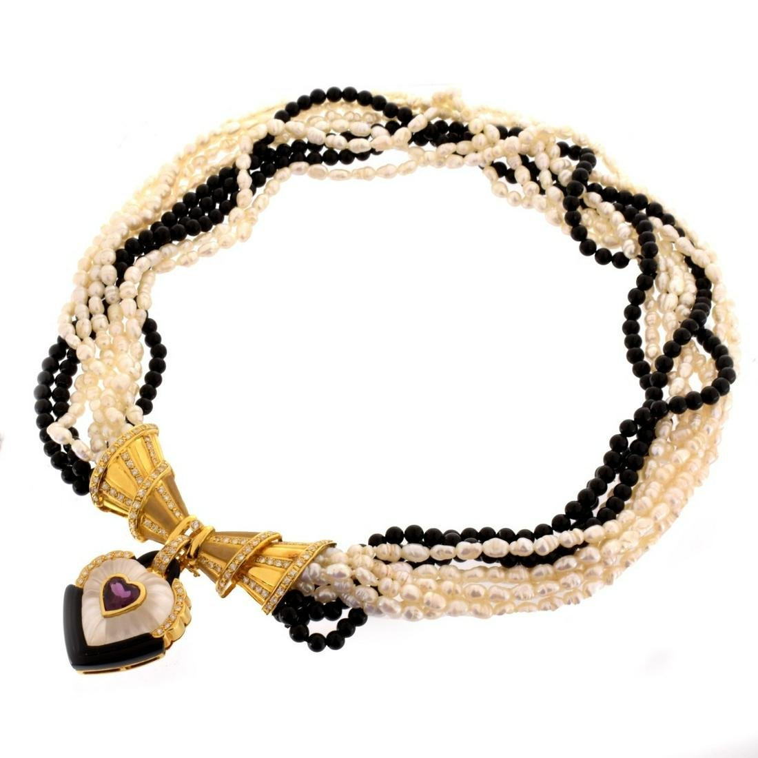 Pearl, Onyx and 18K Necklace