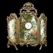 19th c Austrian Bronze and Enamel Clock