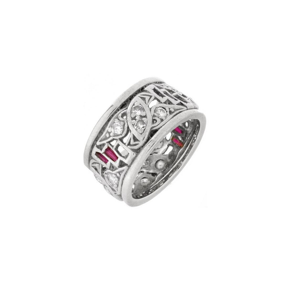 Art Deco Diamond, Ruby, Platinum Ring