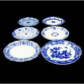 Six (6) Antique Flow Blue Oval Serving Platters