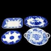 Four (4) Antique Flow Blue Serving Platters