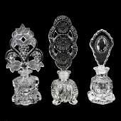 Three 3 Vintage Crystal Perfume Bottles