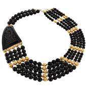 14K, Onyx and Horn Necklace