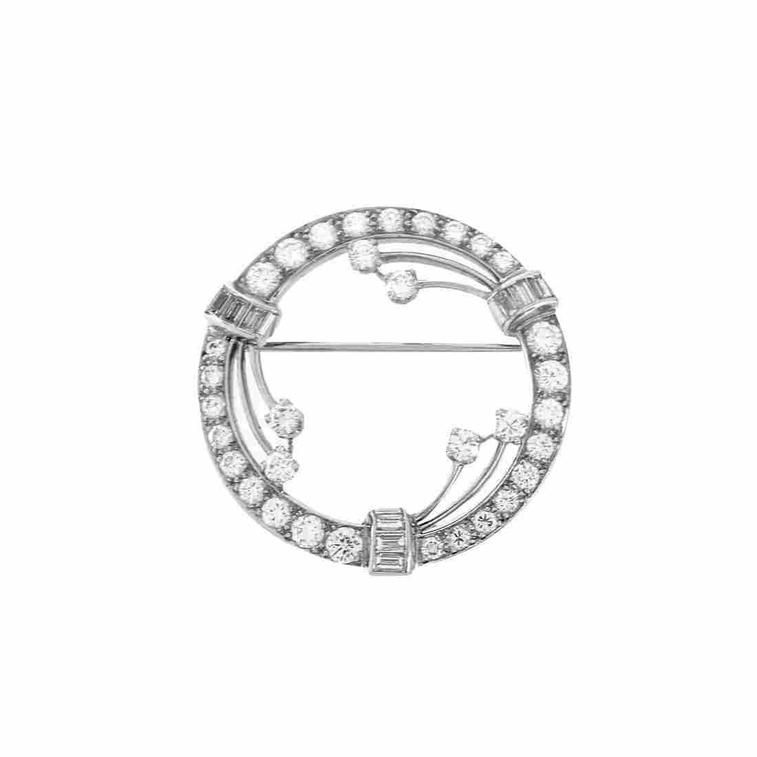 Diamond and Platinum Brooch