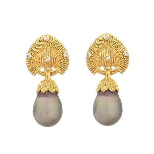 Pearl, Diamond and 18K Earrings