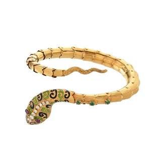 Gemstone and 18K Snake Bangle