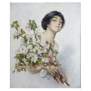 19/20th C. O/C Portrait w/ Flowers