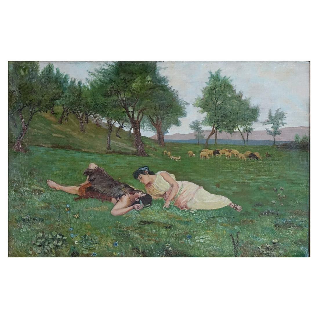 Early 20th C. Pre Raphaelite Style O/C