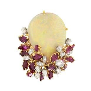 Opal, Ruby, Diamond and 18K Ring