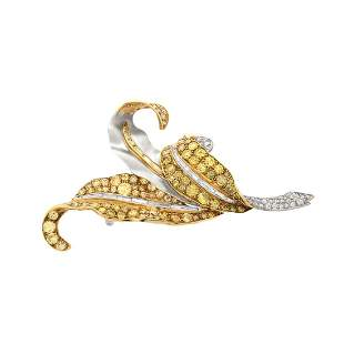 Diamond, Platinum and 18K Brooch