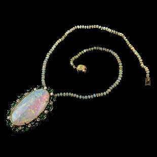 Opal, Emerald, Diamond and 18K Necklace