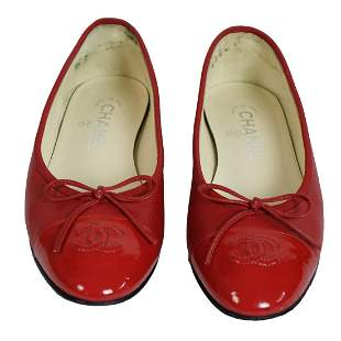 Chanel Red Leather and Patent Cap Toe Ballet Flats
