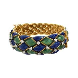 Diamond, Enamel and 18K Bracelet