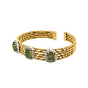 Tourmaline, Diamond and 18K Bracelet
