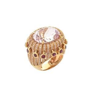 Kunzite, Ruby, Diamond and 18K Ring
