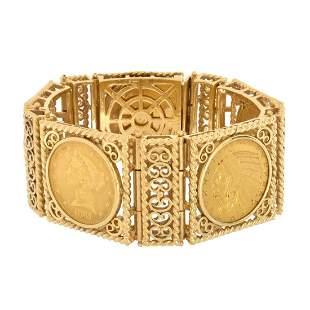 US Gold Coin and 14K Bracelet