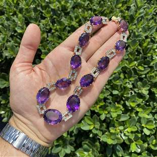 Amethyst, Diamond and 18K Necklace