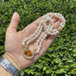 Citrine, Diamond, Pearl and 14K Necklace