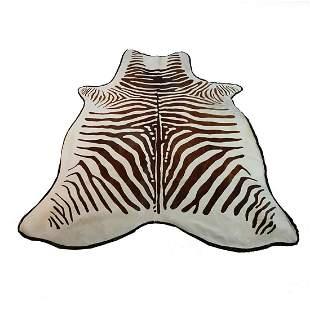 Zebra Stenciled Cowhide Rug