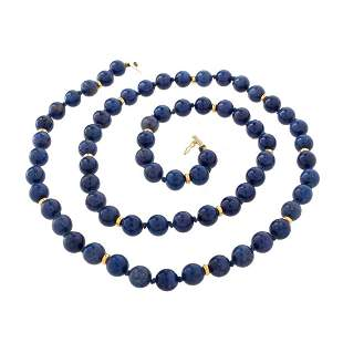 Lapis Bead and 14K Necklace