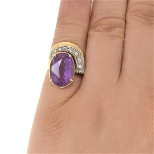 Amethyst, Diamond and 14K Ring