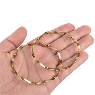 Diamond and 18K Bangle Bracelets