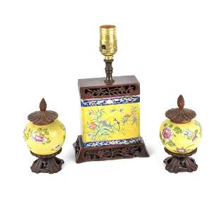 Chinese Famille Juane Lamp and Vases