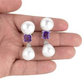 Pearl, Amethyst, Diamond and 18K Earrings