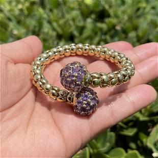 Amethyst and 18K Bangle Bracelet
