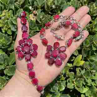 Ruby and Sterling Necklace and Bracelet