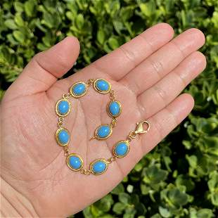 Turquoise and 20K Bracelet