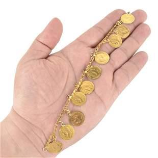 """14K and 20K """"Coin"""" Charm Bracelet"""