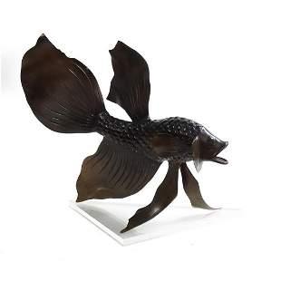20th C. Bronze Betta Fish Sculpture