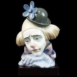 """Lladro """"Pensive Clown"""" Porcelain Figurine"""