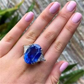 AGL 33.64 Carat Ceylon Sapphire Ring