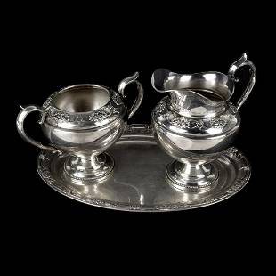 International Sterling Cream and Sugar with Tray
