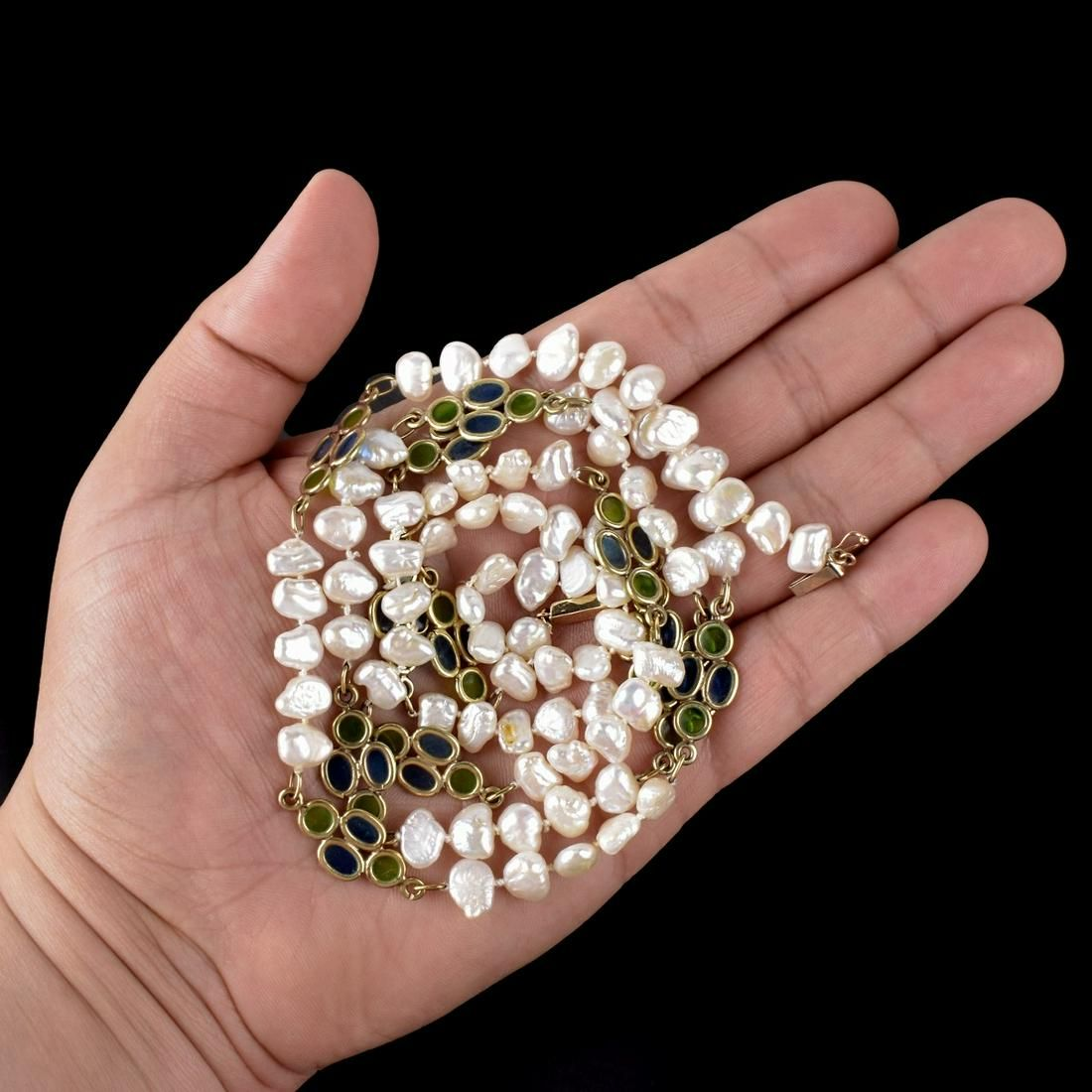 Pearl, Enamel and 14K Necklace