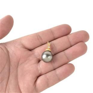 15mm Pearl, Diamond and 14K Pendant