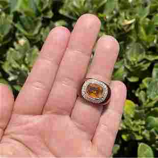 Citrine, Diamond, Enamel and 14K Ring