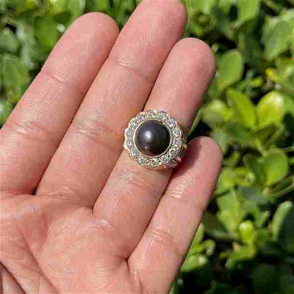 Diamond, Pearl and 14K Ring