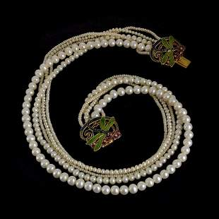 MMA Pearl and Enamel Necklace