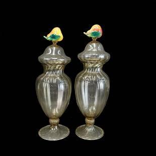 Pair of Murano Style Jars