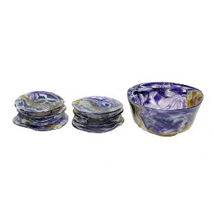 Art Glass Bowl / Plates Set