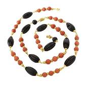 Fred Paris Onyx, Coral and 18K Necklace