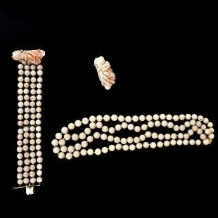Coral, Diamond and 14K Jewelry